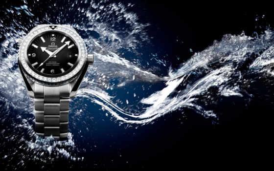 часы, omega, мужские, seamaster, наручные, вода, брызги