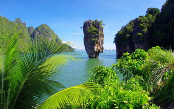 скалы, природа, thai, ко, пальмы, море, ocean, остров, таиланда, tropics, tapu,