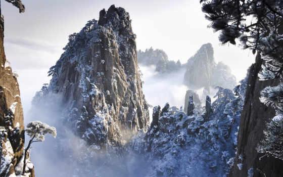 крутые, природа, склоны, гор, снег, сниматься, кинотеатр, скалы, дек, китаянка,