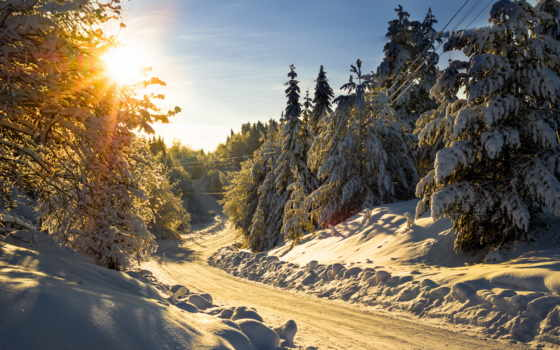 красивые, пейзажи -, winter, зимние, landscape,