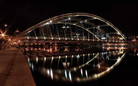 ночь, города, мост, огни, город, моста, york, ночного, new, вечер,