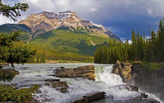 falls, athabasca, канадский, jasper, ürek, озер, rockies,