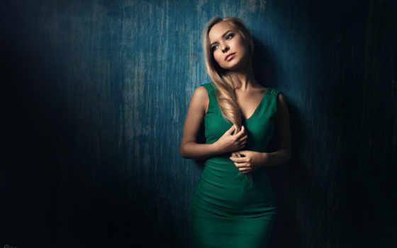 blonde, платье, зеленом