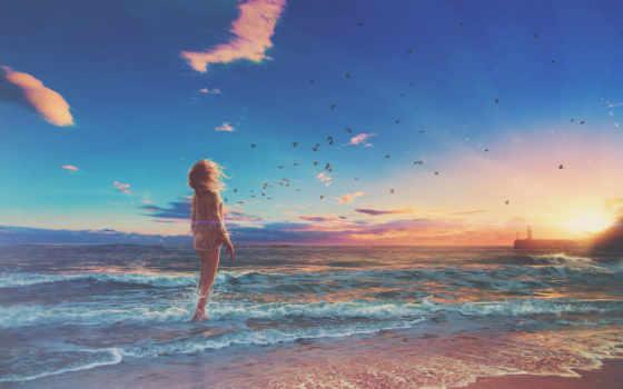 art, девушка, anime, пляж, море, когда, time, devushki,