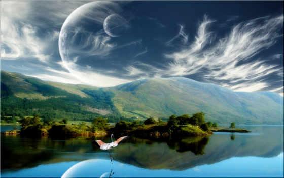 озеро, abstract, луна, fantasy, free, окно