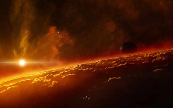 космос, nebula, planet, атмосфера, card, небо, sun, ready, high, звезды, universe