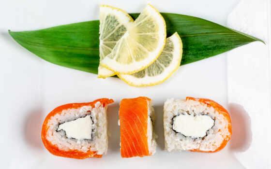 ,lemon, еда, рис, leaf, slice, листва, лист, fish, мята, три, суши