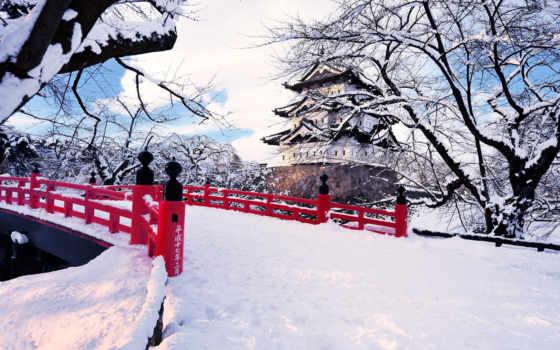 япония, зима, снег