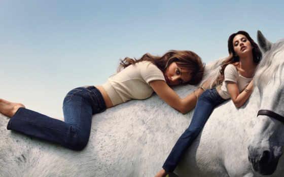 девушка, лошадь, лошади