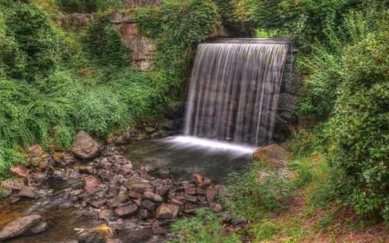 cascada, piedras, arbustos, plantas, pantalla, fondos, fotos, красивые, природа,