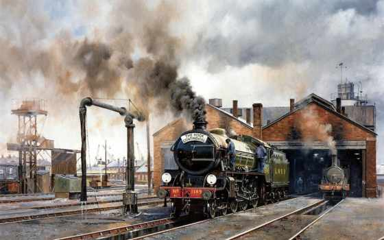 нефть, art, живопись, поезд, paintings, trains, steam, howard, fogg, об,