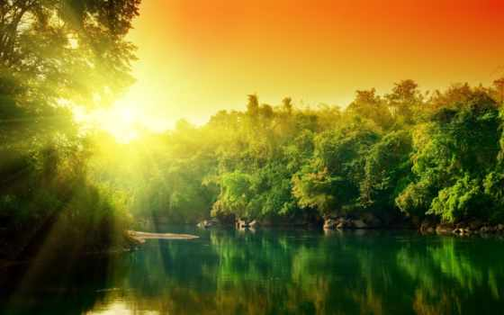 water, trees, природа, бесплатные, desktop, reki, рассвет, widescreen,