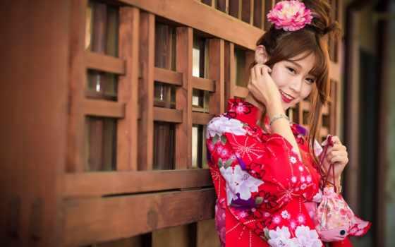девушка, asian, кимоно, desktop, улыбка,