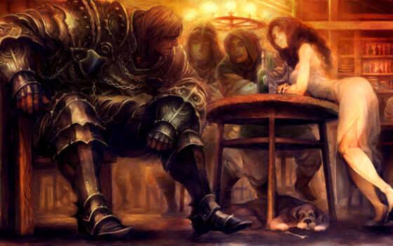art, fantasy, столик, дракон, воин