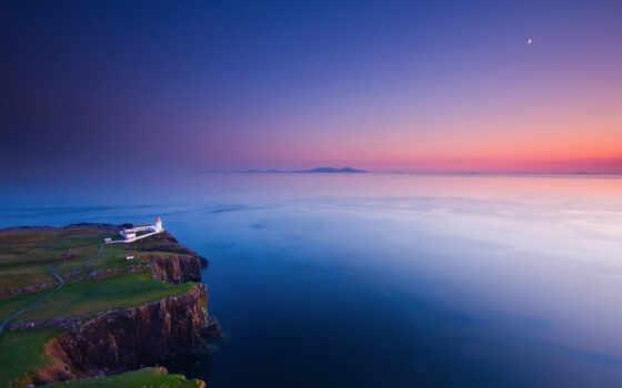 маяк, луна, вечер, небо, закат, берег, скалы, trance, скала, пролив, море, картинка,