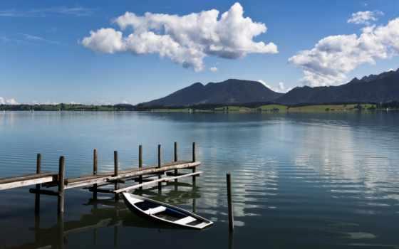 озеро, лодка, мост