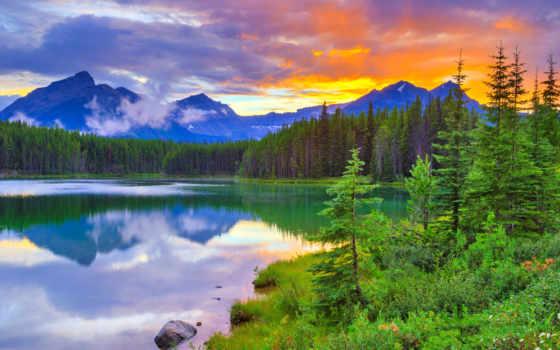 banff, national, озеро, park, природа, herbert, канада, альберта, закат, гора, clouds,