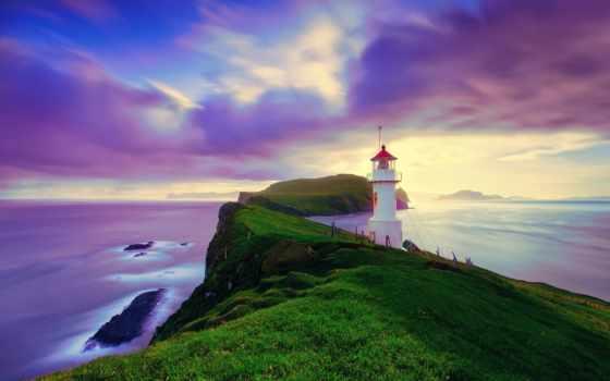 iceland, fone, неба, небо, острова, фарерские, lighthouse, моря, остров,