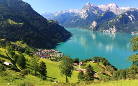 горы, swiss, landscape, природа, дома, озеро, луга, трава, sisikon, швейцария, снег,