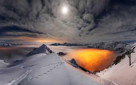 горы, снег, природа, winter, небо, landscape, oblaka, prezentacii, луна,