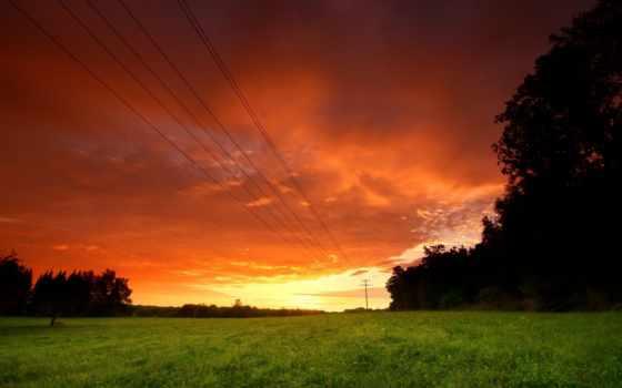 небо, вечер, упадок, поле, wires, desktop, images,