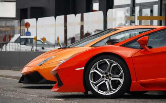lamborghini, aventador, оранжевый, фары, свет, red, суперкар,