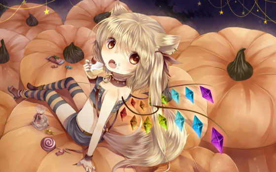 wings, art, anime, flandre, девушка, touhou, tagged, демон, scarlet,