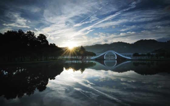восход, солнца, мостик, китай, ozero,
