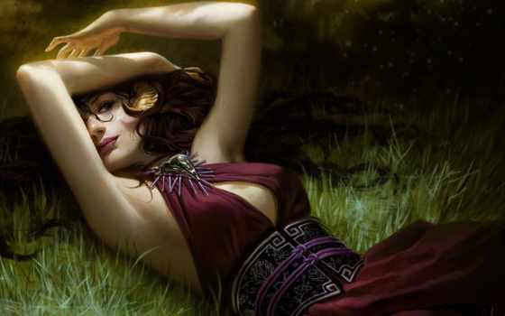 девушка, лежит, трава