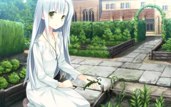 anime, волосы, miscellaneous, растения, девушка, girls, огрод,