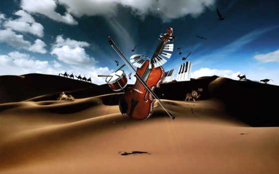 клавиши, скрипка, музыкальные, инструменты, пустыня, drum, piano, ноты,