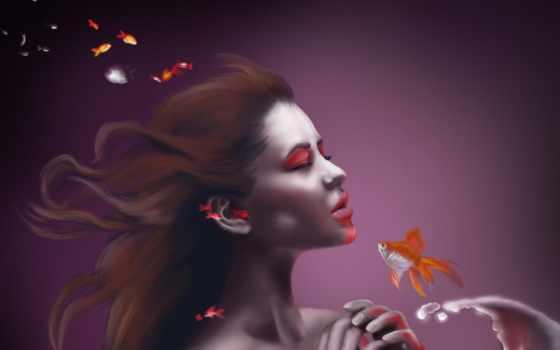 рыбки, девушка, pisces, art, золотые, water, водой, под, море, комод, treasure,