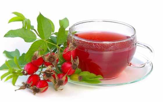 чая, red, rowanberry, напиток,