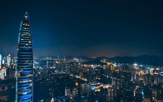 город, ночь, mobile, телефон, планшетный, mac, ноутбук