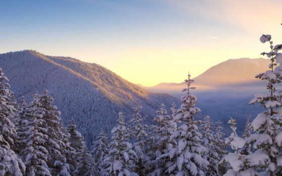 зима, обои, горы, снег, природа, деревья, зимние,
