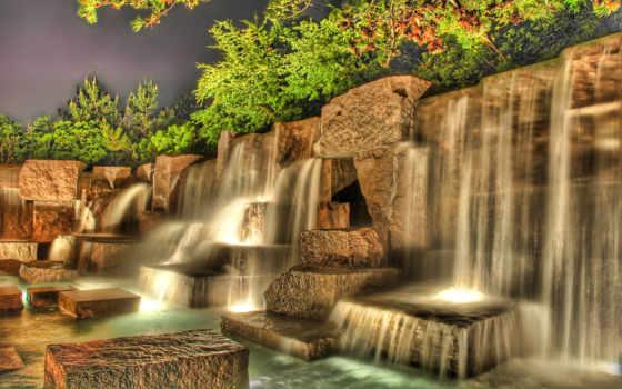 водопад, озеро, горы