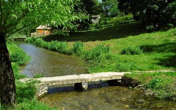 картинка, мосты, реки, англия, изображение, cotswolds, neighborhood, природа, upper, убойный, water,