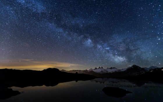 небо, ночь, звездное, млечный, путь, озеро, снег, горы, со, небе, ночное,