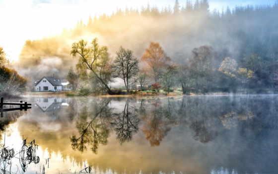 природа, лес, живопись, house, озеро, утро, туман, desktop,