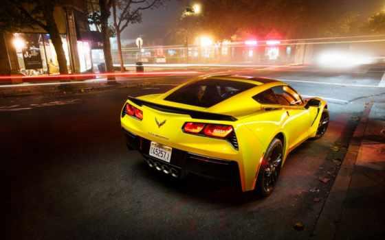 corvette, chevrolet, stingray, coupe, ночь, взгляд, город, yellow, сзади,