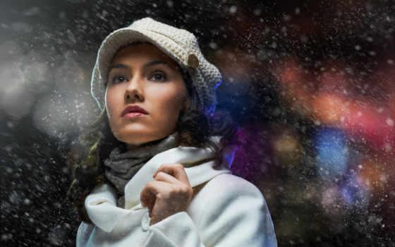 девушка, шубка, взгляд, devushki, шатенка, задумчивость, шарфик, кепи, шапка,