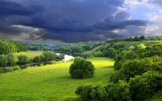 природа, река, зелёный, камни,
