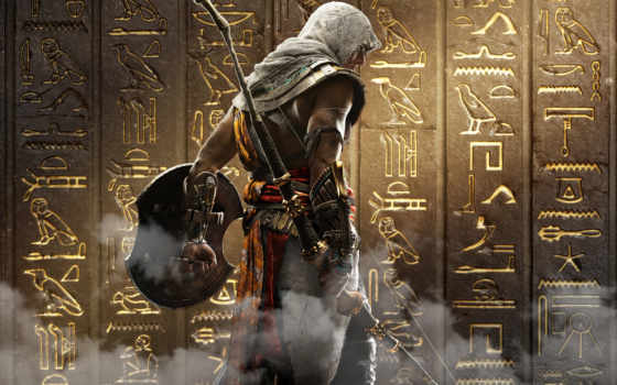creed, origins, assassin, ubisoft, плакат, игры,