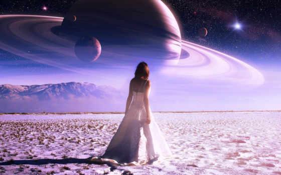 девушка, planet, небо, звезды, горы, планеты, влияние,