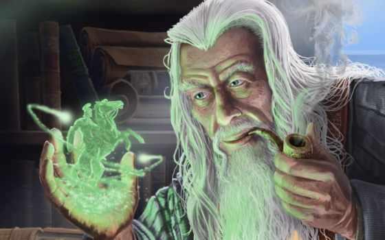 fantasy, art, магия, маг, колдун, старый, трубка,