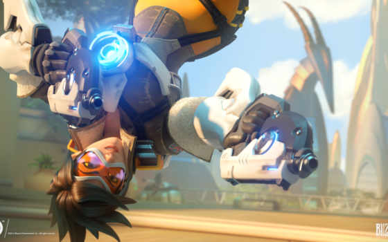 overwatch, tracer, parede, android, papel,