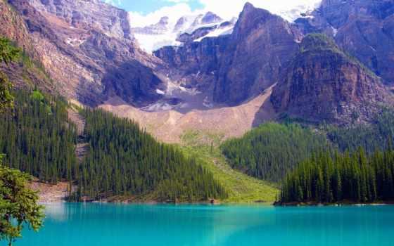 канадский, озеро, горы, природа, banff, канада, park, national, альберта, trees,