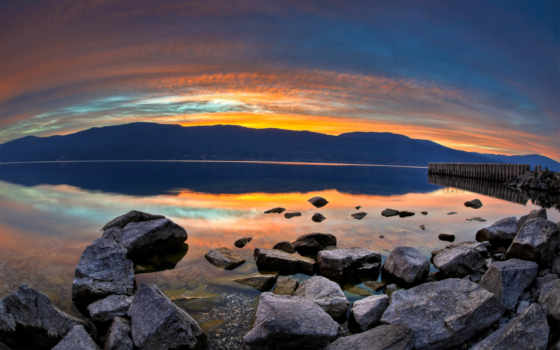 lago, amanecer, сол