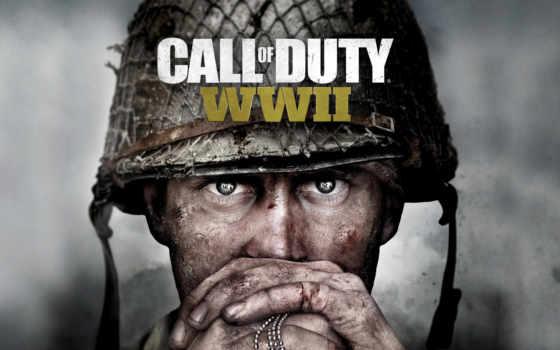 колл, duty, wwii, xbox, one, солдат, взгляд, боя, resolution,