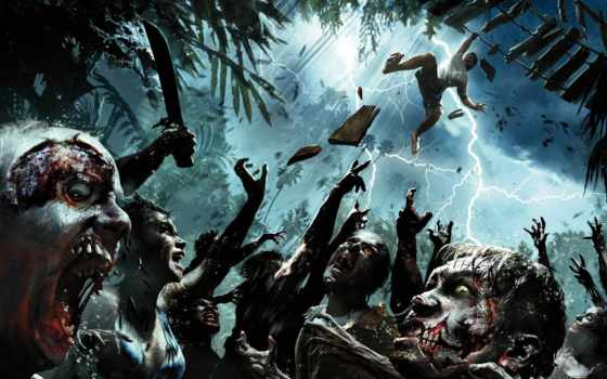 зомби, dead, остров, заставки, трупы, lightning, пальмы, лайков, silver, игры,